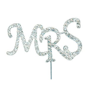 Club Green DIAMANTÉ MRS Sign ON STEM 80X45MM, Metal, Silver, 19.5 x 13 x 0.3 cm from Club Green