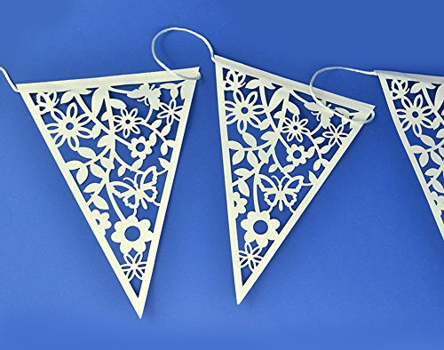 Club Green LACE BUNTING IVORY 8M (20 FLAGS 17X23CM), Card, 32 x 23 x 3 cm from Club Green