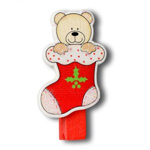 CLUB GREEN Wooden Pegs Bear Xmas Stocking, Red, 4 pegs in each pack from Club Green