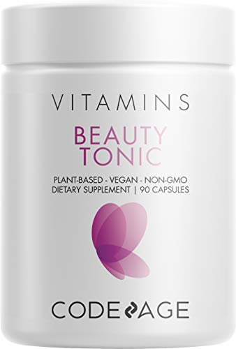 Codeage Beauty Boost - 3-in-1 Organic Vegan Collagen Booster + Hair Skin and Nails Vitamins + Anti Aging Antioxidant Supplement with Astaxanthin for Wrinkles, Hair Growth & Skin Whitening, 90 Capsules from Codeage