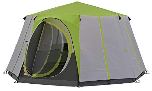 Coleman Tent Octagon, 6 to 8 man Festival tent, large Dome Tent with full standing head height, 100% waterproof Family Camping Tent with sewn in groundsheet from Coleman