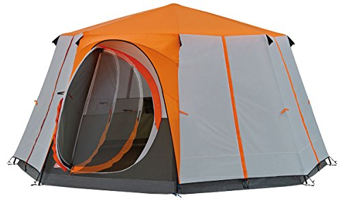 Coleman Tent Cortes Octagon, 6 to 8 man Festival tent, large Dome Tent with full standing head height, 100% waterproof Family Camping Tent with sewn in groundsheet from Coleman