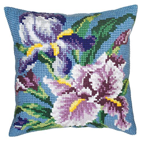 "Collection d'Art 40 x 40 cm ""Purple Iris"" Cross Stitch Cushion Kit from Collection D'Art"
