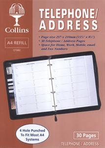 Collins A4 Telephone & Address Book Conference Folder Folio Diary Refill - CF1002 from Collins