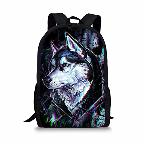 Coloranimal 3D Animal Printing Backpack for Kids Fashion Black Pet Dog Husky Pattern Bookbags for Childs from Coloranimal