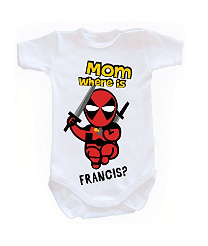 Colour Fashion Baby Deadpool Bodysuits Shortsleeve 100% Cotton 0 - 24 months 0005 (0-3 months, 62 cm, White) from Colour Fashion