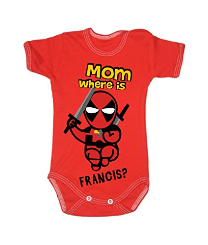 Colour Fashion Baby Deadpool Bodysuits Shortsleeve 100% Cotton 0 - 24 months 0005 (3-6 months, 68 cm, Red) from Colour Fashion