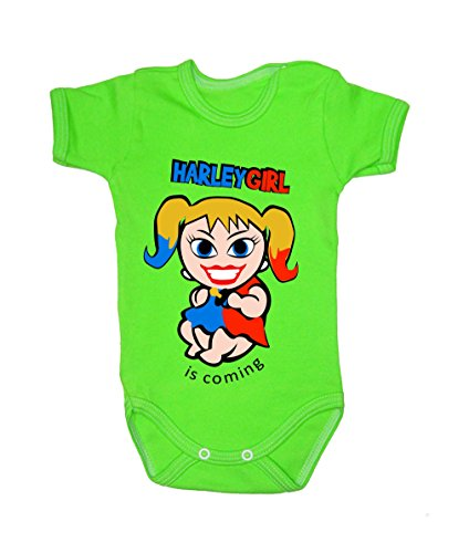 Colour Fashion Baby Harley Quinn Bodysuits Shortsleeve 100% Cotton 0 - 24 months 0007 (0-3 months, 62 cm, Green) from Colour Fashion