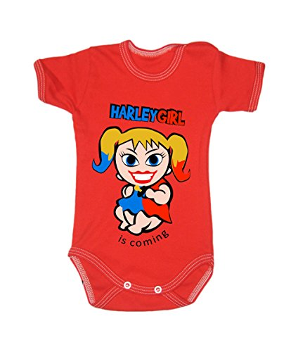 Colour Fashion Baby Harley Quinn Bodysuits Shortsleeve 100% Cotton 0 - 24 months 0007 (18-24 months, 92 cm, Red) from Colour Fashion