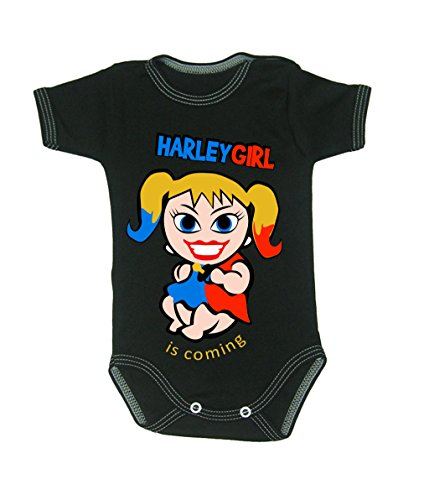 Colour Fashion Baby Harley Quinn Bodysuits Shortsleeve 100% Cotton tiny baby - 24 months 0007 (tiny baby, 52 cm, Black) from Colour Fashion