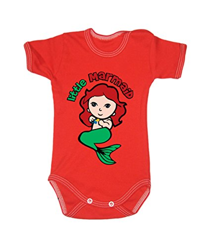 Colour Fashion Baby Marmaid Bodysuits Shortsleeve 100% Cotton 0 - 24 months 0011 (12-18 months, 86 cm, Red) from Colour Fashion