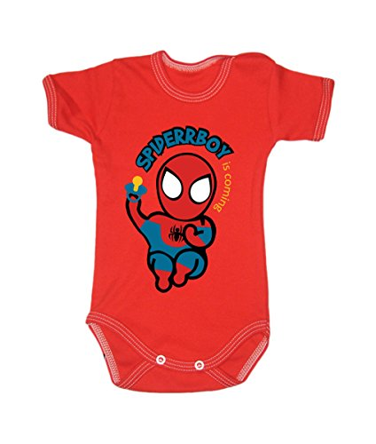 Colour Fashion Baby Spiderman Bodysuits Shortsleeve 100% 0 - 24 months 0003 (18-24 months, 92 cm, Red) from Colour Fashion