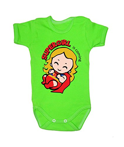 Colour Fashion Baby Superwoman Bodysuits Shortsleeve 100% Cotton 0 - 24 months 0010 (3-6 months, 68 cm, Green) from Colour Fashion