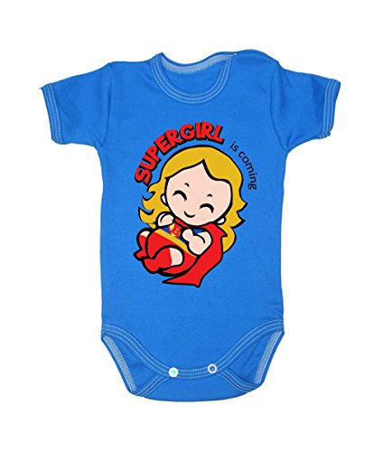 Colour Fashion Baby Superwoman Bodysuits Shortsleeve 100% Cotton 0 - 24 months 0010 (6-9 months, 74 cm, Blue) from Colour Fashion