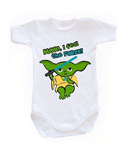 Colour Fashion Baby Yoda Bodysuits Shortsleeve 100% Cotton 0 - 24 months 0012 (newborn, 56 cm, White) from Colour Fashion