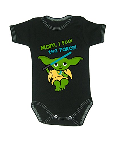 Colour Fashion Baby Yoda Bodysuits Shortsleeve 100% Cotton tiny baby - 24 months 0012 (tiny baby, 52 cm, Black) from Colour Fashion