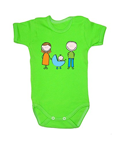 Colour Fashion Drawing Happy Family Unisex Bodysuits Shortsleeve 100% Cotton 0 - 24 months 0017 (0-3 months, 62 cm, Green) from Colour Fashion