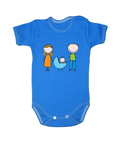 Colour Fashion Drawing Happy Family Unisex Bodysuits Shortsleeve 100% Cotton 0 - 24 months 0017 (18-24 months, 92 cm, Blue) from Colour Fashion