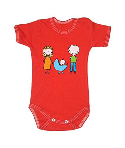 Colour Fashion Drawing Happy Family Unisex Bodysuits Shortsleeve 100% Cotton 0 - 24 months 0017 (newborn, 56 cm, Red) from Colour Fashion