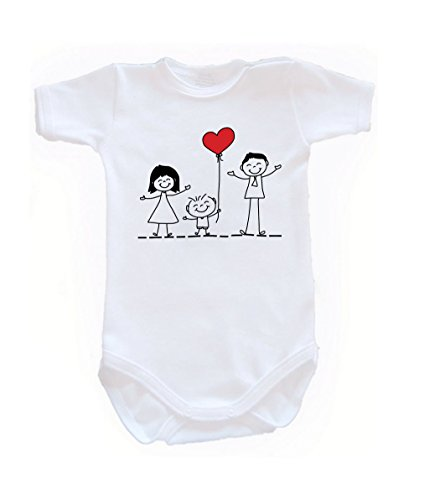 Colour Fashion Family Love Unisex Bodysuits Shortsleeve 100% Cotton 0 - 24 months 0015 (18-24 months, 92 cm, White) from Colour Fashion