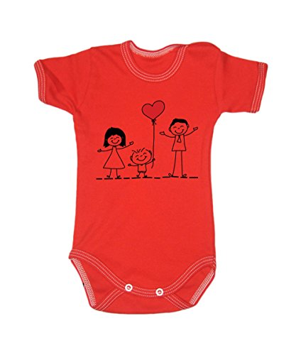 Colour Fashion Family Love Unisex Bodysuits Shortsleeve 100% Cotton 0 - 24 months 0015 (9-12 months, 80 cm, Red) from Colour Fashion