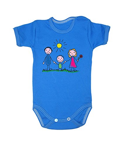 Colour Fashion Family Sunny Day Bodysuits Shortsleeve 100% Cotton 0 - 24 months 0015 (3-6 months, 68 cm, Blue) from Colour Fashion