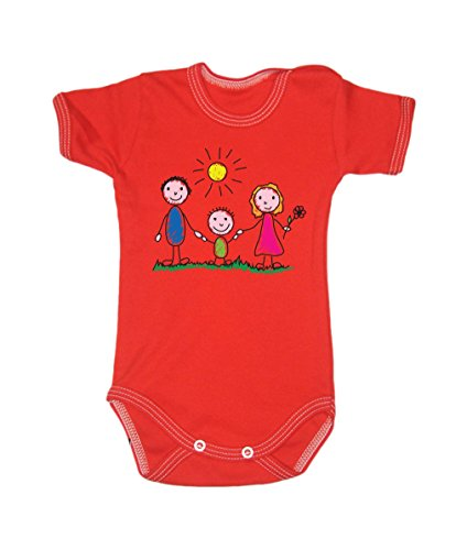 Colour Fashion Family Sunny Day Bodysuits Shortsleeve 100% Cotton 0 - 24 months 0015 (3-6 months, 68 cm, Red) from Colour Fashion