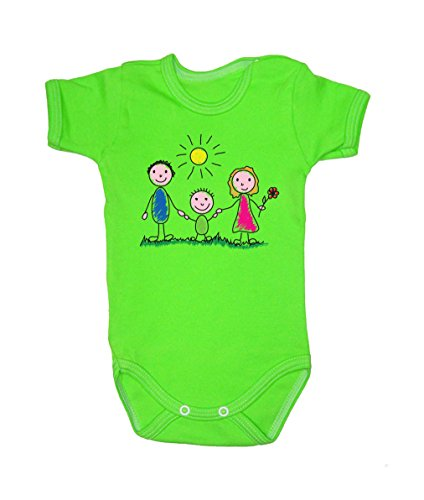 Colour Fashion Family Sunny Day Bodysuits Shortsleeve 100% Cotton 0 - 24 months 0015 (9-12 months, 80 cm, Green) from Colour Fashion