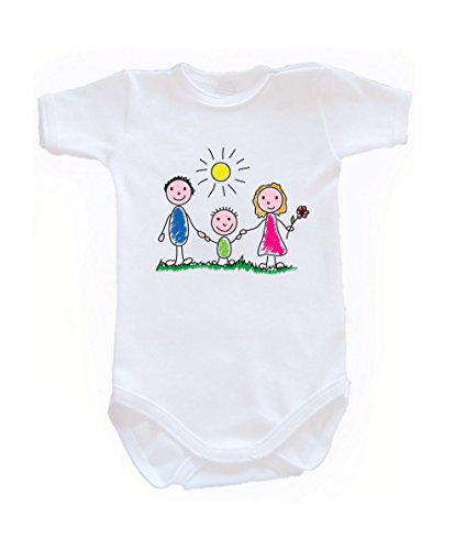 Colour Fashion Family Sunny Day Bodysuits Shortsleeve 100% Cotton 0 - 24 months 0015 (newborn, 56 cm, White) from Colour Fashion