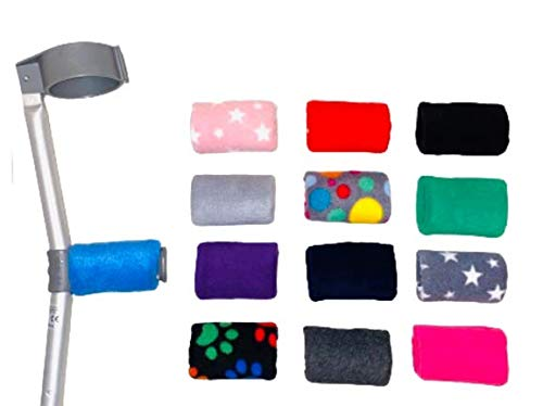 Comfy Handle Padded/Pad Covers Pair. Choice of Colours/Designs Black, Blue, Red, Grey Multi Spot, Pink Star, Purple, Grey Snowflake, Dark Grey, Pink, Navy, Black Multi Paw,Light Grey, Green Free P&P from Comfy Crutch Covers