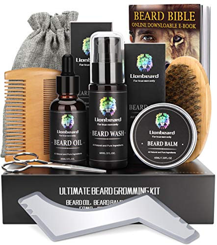 Beard Care Kit for Men Dad Beard Growth Grooming & Trimming, Beard Shampoo Wash, Beard Oil Conditioner, Balm Wax, Brush, Comb, Scissors, Shaping Template Tool, Perfect Gift Set for Him from Comfy Mate