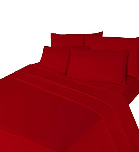 Comfy Nights Brushed Thermal Cotton Flannelette Fitted Sheet or Pillow Pair, Super King - Red from Comfy Nights