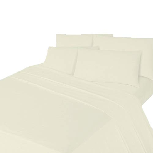 Comfy Nights Brushed Cotton Flannelette Flat Sheet Or Pillow Pair, Single - Cream from Comfy Nights
