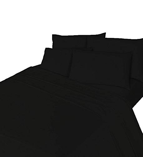 Comfy Nights Brushed Cotton Flannelette Sheet Set - Fitted Sheet, Flat Sheet & Pillow Case, Double - Black from Comfy Nights