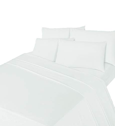 Comfy Nights Brushed Cotton Flannelette Sheet Set - Fitted Sheet, Flat Sheet & Pillow Case, Double - White from Comfy Nights