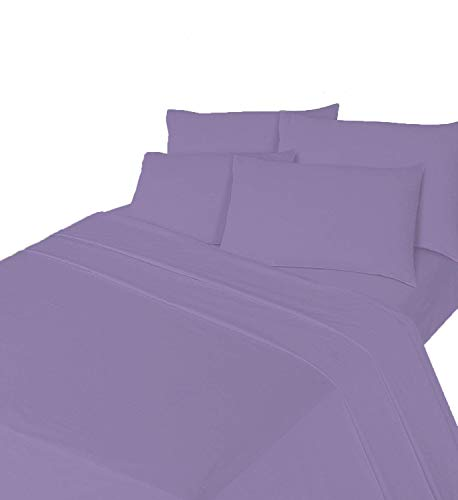 Comfy Nights Brushed Cotton Flannelette Sheet Set - Fitted Sheet, Flat Sheet & Pillow Case, King - Lilac from Comfy Nights