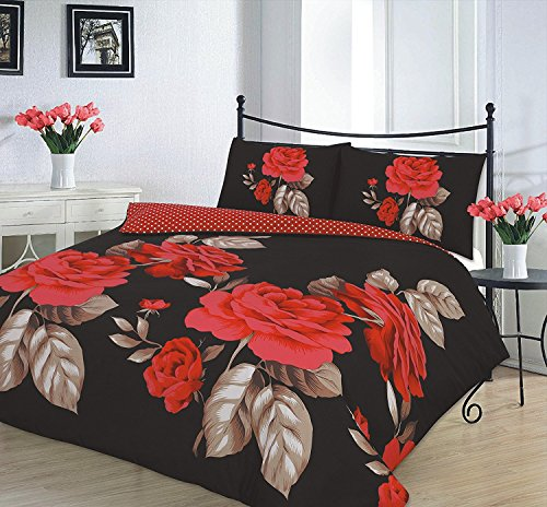 Comfy Nights ISABELLA Design Luxury Polycotton Duvet Cover Set (Black, Double) from Comfy Nights