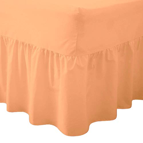 Comfy Nights Plain Dyed Polycotton Easy Care Valance Fitted Sheet In 19 Colors (Super King, Peach) from Comfy Nights