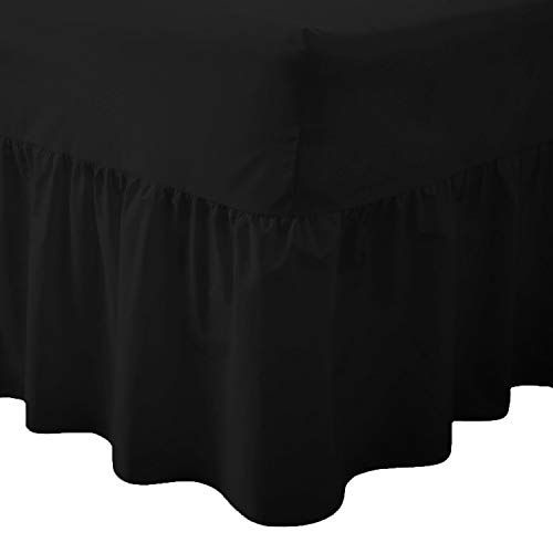 Comfy Nights Plain Dyed Polycotton Easy Care Valance Fitted Sheet In 19 Colors (Double, Black) from Comfy Nights