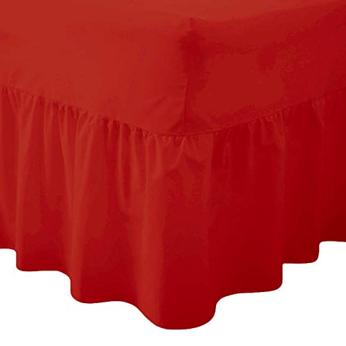 Comfy Nights Plain Dyed Polycotton Easy Care Valance Fitted Sheet In 19 Colors (King, Red) from Comfy Nights