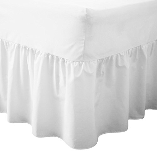 Comfy Nights Plain Dyed Polycotton Easy Care Valance Fitted Sheet In 19 Colors (King, White) from Comfy Nights