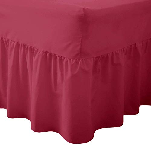 Comfy Nights Plain Dyed Polycotton Easy Care Valance Fitted Sheet In 19 Colors (Single, Wine/Burgundy) from Comfy Nights