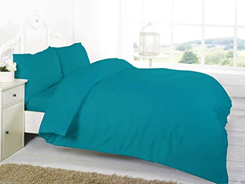 Comfy Nights Plain Dyed Pollycotton Duvet/Quilt Set (King, Teal) from Comfy Nights