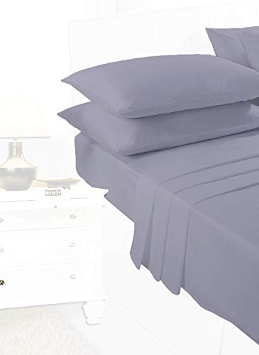 Comfy Nights Plain Dyed Pollycotton Sheet Set (Fitted Sheet, Flat Sheet & Pillow Pair) (King, Grey/Silver) from Comfy Nights
