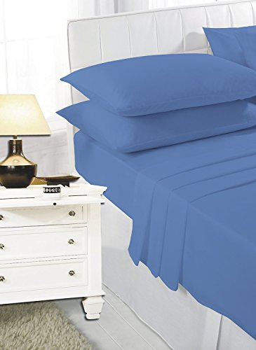 Comfy Nights Plain Dyed Pollycotton Sheet Set (Fitted Sheet, Flat Sheet & Pillow Pair) (King, Mid Blue) from Comfy Nights