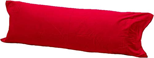 Comfy Nights Pollycotton Bolster Pillow Case Plain Dyed (4.6Ft (54 Inches), Red) from Comfy Nights