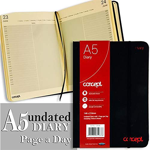 Premier Stationery S2812838 A5 Concept Undated Page A Day Diary with Times and Notes from Premier Stationery