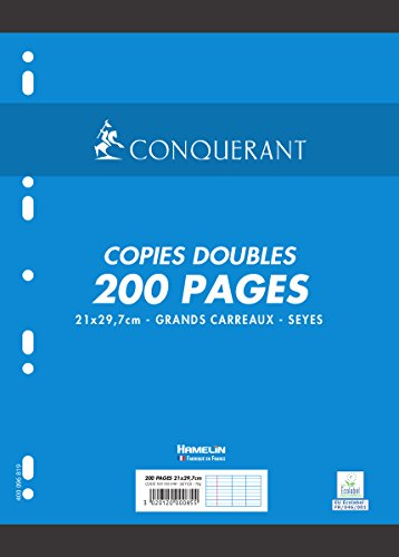 Conqueror A4 Punched Papers Double 200 Pages 70 g large squares Seyès from Conquérant