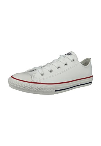 Converse Unisex Kids' Chuck Taylor Ct Ox Low-Top Sneakers, White (White/Garnet/Navy 158), 1 UK from Converse