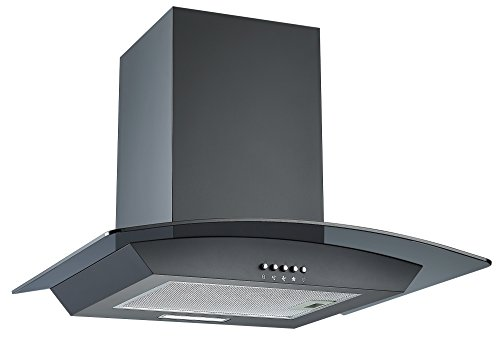 Cookology CGL600BK 60cm Curved Glass Chimney Cooker Hood in Black from Cookology